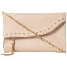 Dune Etassle Stud and Tassel Fold Over Clutch Bag ($59) ❤ liked on Polyvore featuring bags, handbags, clutches, bolsas, purses, accessories, nude, beige purse, evening clutches and beige clutches