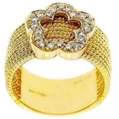 0.25 Cttw G VS IGL Certified Round Diamonds Flower Cocktail Ring 14K Yellow Gold #Cocktail #Ring #Certified #Appraised #Flower #NYCJewelers