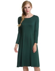 Dark green New Women O-Neck Long Sleeve Solid Pleated Casual Dresses
