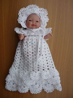 Ravelry: Christening Dress pattern by Annie Potter Knitted Doll Patterns, Knitted Dolls, Doll Clothes Patterns, Crochet Patterns, Baby Patterns, Crochet Doll Dress, Crochet Doll Clothes, Crochet Baby Shoes, Small Baby Dolls