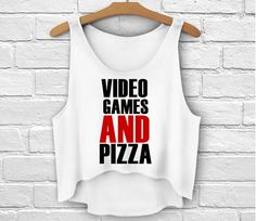 Video Games And Pizza Womens Graphic Tee Loose Crop Top - Super Cute Trendy Top Teens Girls