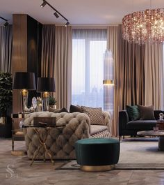 Glamorous beige and green living room decor, Restoration Hardware style luxury living room decor with tufted modern style sofa Living Room Green, Home Living Room, Living Room Designs, Living Room Decor, Living Room Interior, Bedroom Decor, Nursery Decor, Luxury Home Furniture, Luxury Interior