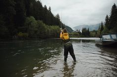 waist deep in the waters of the Gitnadoiks- one of the many smaller tributaries to the Skeena River