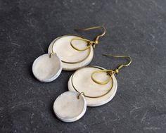 disc gray earrings / industrial jewelry / modern geometric everyday polymer clay earring dangle / Mother's day
