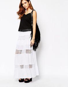 Glamorous Lace Insert Maxi Skirt