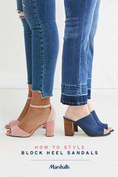The block heel — and two ways to wear it! These designer ankle strap sandals are the perfect touch to dress up your denim! Pair with distressed skinny jeans (we love the step hem at the bottom). Or pair peep-toe denim mules with straight-leg jeans. The released hem adds some drama to your denim! Visit Marshalls to style your look for spring.