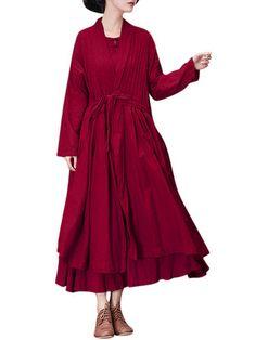 7d95a72e22 Gracila Casual Loose Front Belt Solid Color Women Dresses (Not Including  Insided Dress)