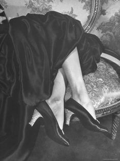 Rhinestone Heels, Imported from France, Being Worn on Plain Black Satin Opera Pumps