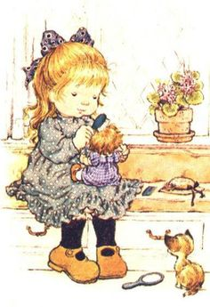 Sarah Kay her doll and her kitty Sarah Key, Holly Hobbie, Mary May, Creation Art, Dibujos Cute, Australian Artists, Cute Images, Illustrations, Cute Illustration