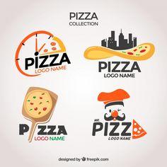 Pack of pizzerias logos Free Vector Menu Restaurant, Restaurant Logo Design, Restaurant Menu Template, Pizza Logo, Pizza Branding, Design Pizzeria, Ideas Para Logos, Modele Flyer, Foodtrucks Ideas