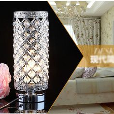Modern Crystal Table Lamp Bedroom/Bedside lamp Creative table lamp 9633_Silver #Unbranded