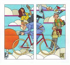 "Illustration ""Geletterd"" by Joost Swarte Ligne Claire, Bicycle Art, Glass Marbles, Texture Art, Comic Artist, Sculpture Art, Sculpture Ideas, Stained Glass, Glass Art"