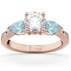 Diamond & Pear Aquamarine Engagement Ring 14k Rose Gold (0.79ct), Women's, Size: 5.75