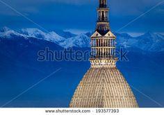Turin (Torino), Mole Antonelliana and Alps - stock photo