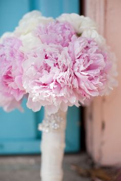 Pink Peony Bouquet | See the wedding on SMP: http://www.StyleMePretty.com/california-weddings/santa-barbara/2014/01/31/santa-barbara-wedding-at-el-paseo-restaurant/ Brynn Alyson Photography
