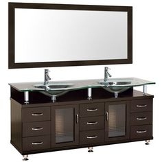 Accara 72 Inch Double Bathroom Vanity - Espresso w/ Clear or Frosted Glass Counter Bathroom Wall Cabinets, Wood Bathroom, Master Bathroom, Bathroom Vanities, Bathroom Ideas, Bathrooms, Double Sink Vanity, Vanity Set, Contemporary Vanity