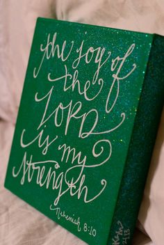 10x10 Scripture Art // Bible verse canvas via Etsy  Very cool. Would prefer on a blue/grey background