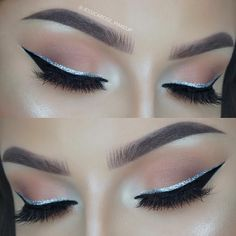 """Jessica Rose Silicz on Instagram: """"✨✨✨ Brows - @anastasiabeverlyhills Brow Definer in Chocolate and Clear Brow Gel. Highlight - @anastasiabeverlyhills Glow Kit in 'That Glow'. Eyeshadow - @makeupgeekcosmetics White Lies, Peach Smoothie, Creme Brûlée and Cocoa Bear (lid and crease) @maccosmetics Nylon (inner corner). Black eyeliner - @nyxcosmetics Matte Liquid liner. Glitter eyeliner - @collectionlove Dazzling gel liner in Glitz. Lashes - @lillyghalichi @lillylashes in the style Cannes. """""""