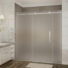 Aston Moselle 72 in. x 35 in. x 77.5 in. Frameless Sliding Shower Door, Frosted Glass in Stainless Steel with Right Base