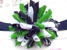 Navy, Green & White Bow
