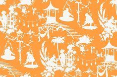 South Sea  (T16021) - Thibaut Wallpapers - A fun and vibrant wallpaper featuring tropical island silhouettes, with an oriental feel. Shown here in orange and white. Other colourways are available. Please request a sample for a true colour match. This is an American wallcovering and will take between 7-10 working days for delivery. Wide width product.