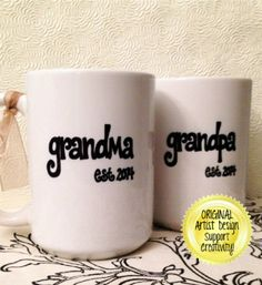 New GRANDMA or GRANDPA Mugs Est. Year Cute by BabyCakeLane on Etsy, $12.95