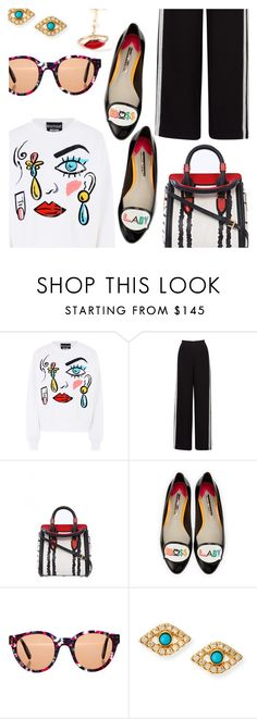 """Boss Lady"" by stacey-lynne ❤ liked on Polyvore featuring Boutique Moschino, Alexander McQueen, Sophia Webster, Zanzan, Sydney Evan and Delfina Delettrez"