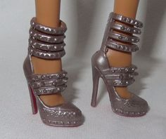 *SHOES ~ BARBIE DOLL MODEL MUSE METALIC STRAPPY LOUBOUTIN RED BOTTOM HIGH HEEL