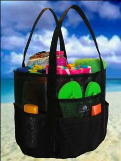 Mesh Family Beach Tote - Black Whale Bag w Black Carabiner Hook by Saltwater Canvas