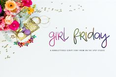 Girl Friday is a fun journaling font great for prints, logo design, tee shirt & product design, and more.
