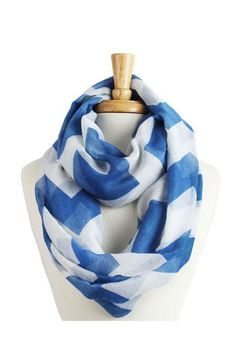 Cute Striped / Chevron Infinity Scarf in Blue and White