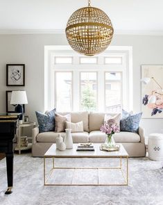 Home Decor Decoracion Living Room Inspiration: Navy Blush and Gold Living Room by Studio McGee.Home Decor Decoracion Living Room Inspiration: Navy Blush and Gold Living Room by Studio McGee Formal Living Rooms, My Living Room, Living Room Interior, Home And Living, Living Spaces, Modern Living, Small Living, Minimalist Living, Living Room With Beige Couch