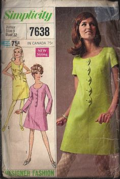 """60s SIMPLICITY Sewing Pattern 7638 DRESS BELL SLEEVES SCALLOPED EDGE 9/32"""""""