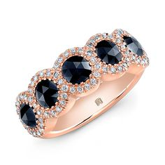 18K Rose Gold Black Diamond Ring with melee  #Rahaminov #diamonds #RahaminovDiamonds #rings #finejewelry #fashion #style