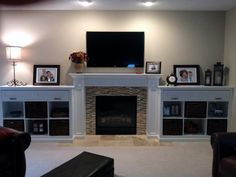 Custom Made Mantel and Built-in Bookcases - shelving rather than cubbies alongside fireplace