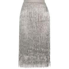 Rachel Zoe Delilah metallic fringed midi skirt (3,605 MYR) ❤ liked on Polyvore featuring skirts, fitted midi skirt, metallic skirt, white fitted skirt, pull on skirts and calf length skirts