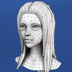 maya cartoon girl head morph