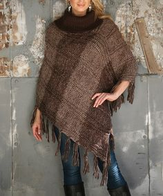 Love this Brown Variegated Cable-Knit Turtleneck Poncho by Ananda's Collection on #zulily! #zulilyfinds