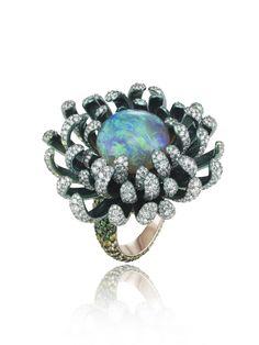 Chopard Fleurs d'Opales ring, in rhodium-plated 18k white gold and titanium, set with diamonds, demantoid garnets, yellow sapphires, tsavorites