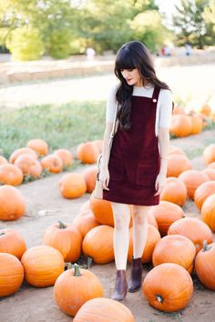 to Style Boots for Fall with Clark's New Darlings - Fall Fashion with Clark's Boots - Pumpkin Picking Cute Dress Outfits, Overalls Outfit, Cute Dresses, Fall Outfits, Skater Outfits, Indie Outfits, Disney Outfits, Work Outfits, Party Dresses