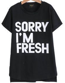 Black Short Sleeve Letters Print Loose T-Shirt