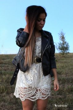 Apricot dress with a leather jacket <3