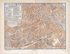 Vintage City Plan Vienna Austria Street Map 1920s by carambas, $12,00