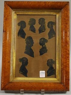 Framed Silhouette Portraits of Eight Family Members | Sale Number 2570M, Lot Number 798 | Skinner Auctioneers