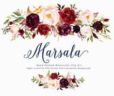 Watercolor floral Clip Art-Marsala/Individual PNG files/Hand