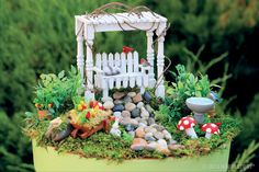 We crafted cozy garden vignettes, sweet little tablescapes, itty-bitty bedrooms and more. Fairy gardens have never been so fun!