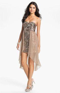 Way-In Sequin Chiffon Overlay Dress (Juniors) | Nordstrom