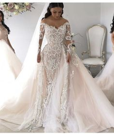 Women's lace wedding dresses with sleeves is considered to be one of the most relevant models this season.Lace wedding dress is stylish at all times. Lace Wedding Dress With Sleeves, Wedding Dress Train, Lace Mermaid Wedding Dress, Long Sleeve Wedding, Mermaid Dresses, Wedding Dress Detachable Train, Blush Pink Wedding Dress, Lace Bride, Blush Bridal