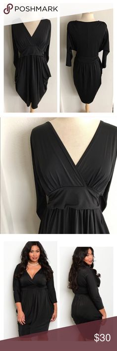 """BLOWOUT! (Plus) Black dress Black dress. 96% polyester/ 4% spandex. These are silky smooth and have great stretch. Slightly banded bottom. Semi Dolman style sleeves. I might suggest a slip with this (cami slips available in my closet). I am a 2x/16/18 and tried on a 2x- fits perfectly!  1x: L 40"""" B 44"""" 2x: L 40"""" B 46"""" 3x: L 41"""" B 48"""" ⭐️This item is brand new from manufacturer without tags.  🚫NO TRADES 💲Price is firm unless bundled 💰Ask about bundle discounts Availability: 1x•2x•3x • 1•2•2…"""