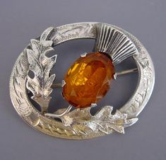"""Scottish thistle brooch hallmarked """"Wbs"""" Glasgow circa 1950, 2"""". The thistle is the national symbol of Scotland.."""